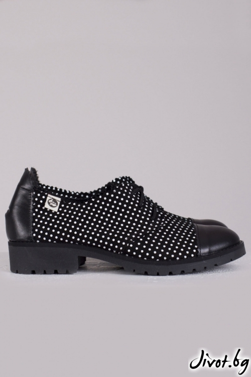 Черни дамски кожени обувки 1950 / PESH ART