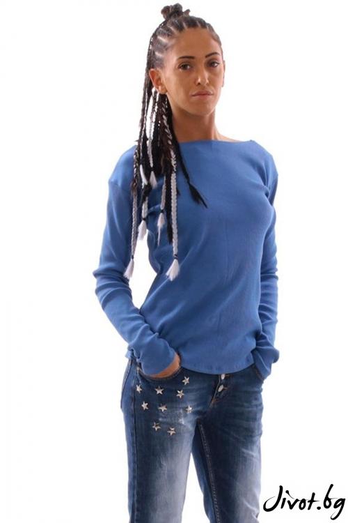 Синя блуза от памучен рипс с връзки / Cherry You
