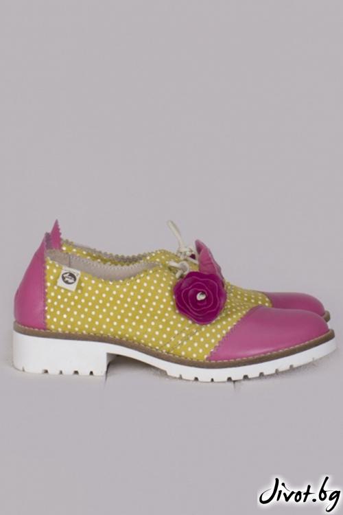 Кожени обувки с ръчна декорация Blossom / PESH ART