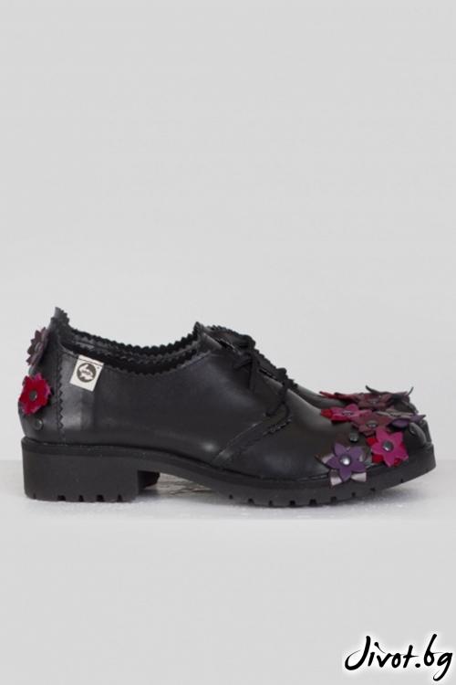 Черни кожени обувки Forever Floral / PESH ART