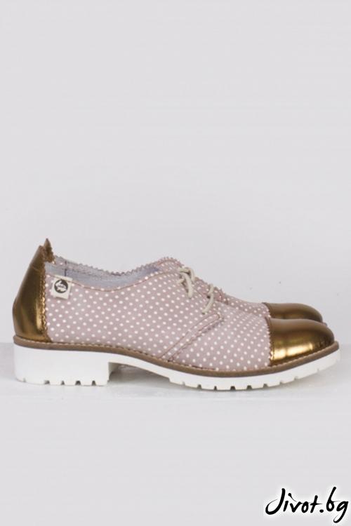 Дамски кожни обувки O, Sweet Chic - Gold / PESH ART