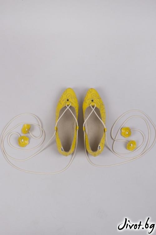Жълти кожени обувки Lemon Tree / PESH ART