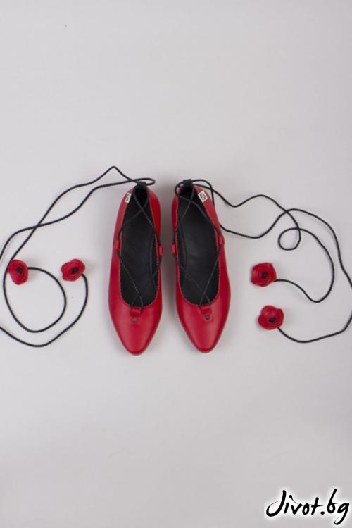 Червени кожени дамски обувки Poppy / PESH ART