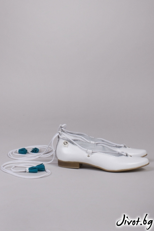 Бели кожени дамски обувки White Ballerina / PESH ART