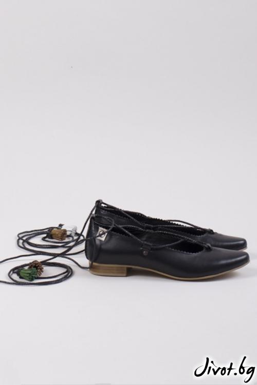 Черни дамски обувки класически стил Black Ballerina / PESH ART