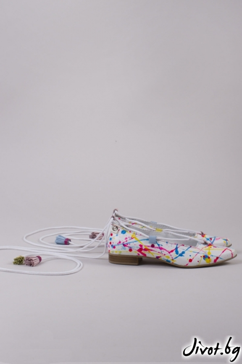 Многоцветни дамски обувки Bon Bon Ballerina / PESH ART