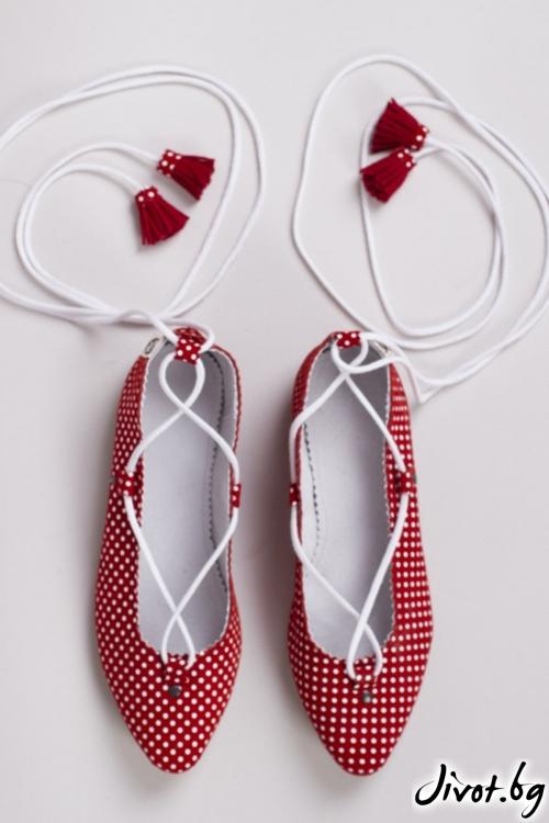 Червени велурени обувки Dotty Ballerina / PESH ART
