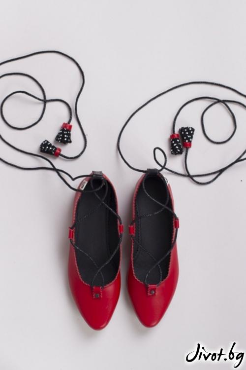 Червени дамски обувки Pretty Ballerina / PESH ART