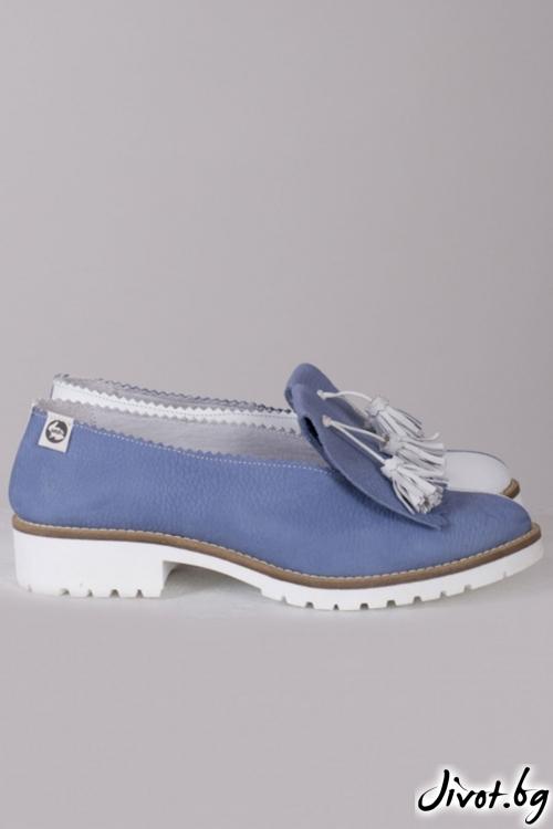 Дамски кожени обувки Blue & White / PESH ART