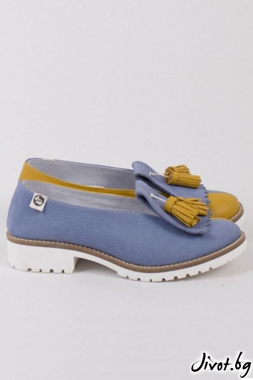 Многоцветни дамски обувки Mustard and Blue / PESH ART