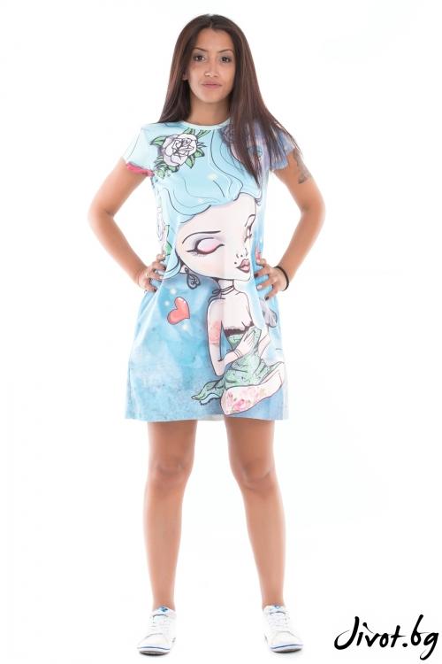 """Дамска рокля с къс ръкав и принт """"Blue girl"""" / MyMagenta"""