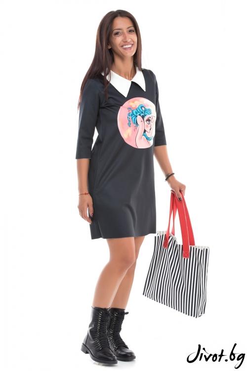 Черна рокля от неопрен с бяла якичка / MyMagenta