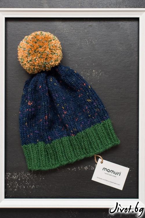 Шарена ръчно плетена дамска шапка / MAMURI Handmade studio