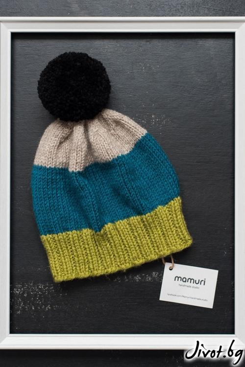 Вълнена ръчно плетена шапка / MAMURI Handmade studio