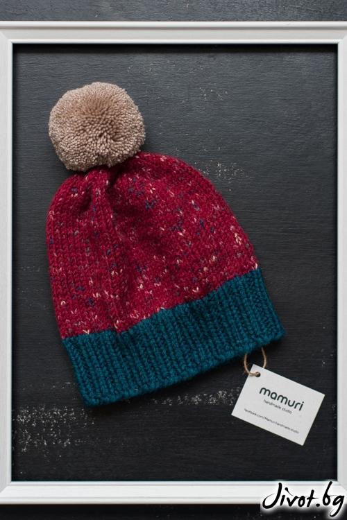 Ръчно плетена шапка с понпон / MAMURI Handmade studio