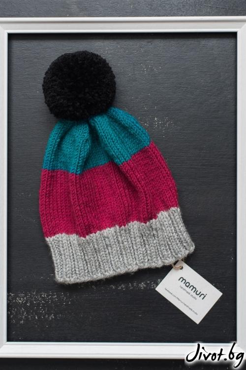 Красива ръчно плетена шапка в 3 цвята / MAMURI Handmade studio