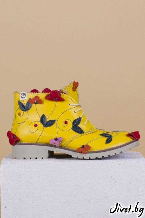Дамски ръчно декорирани кожени обувки Flora / PESH ART