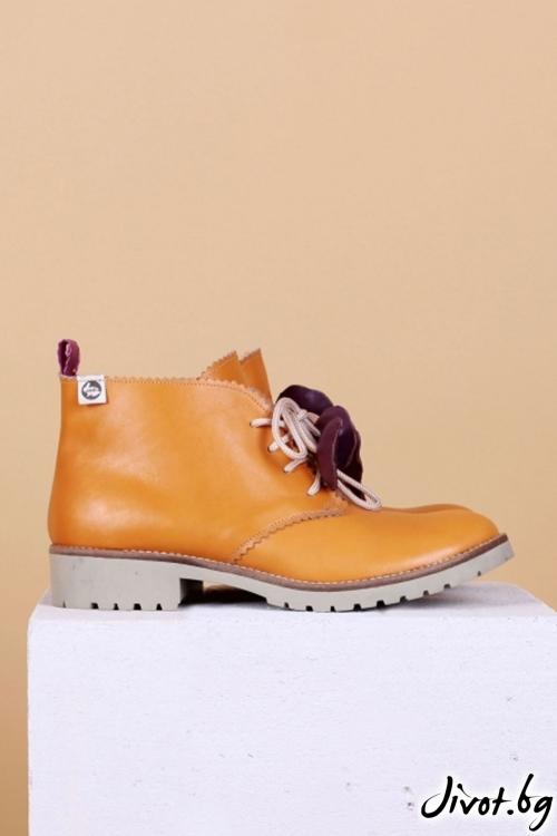 Дамски ръчно декорирани кожени обувки Camel Clark / PESH ART