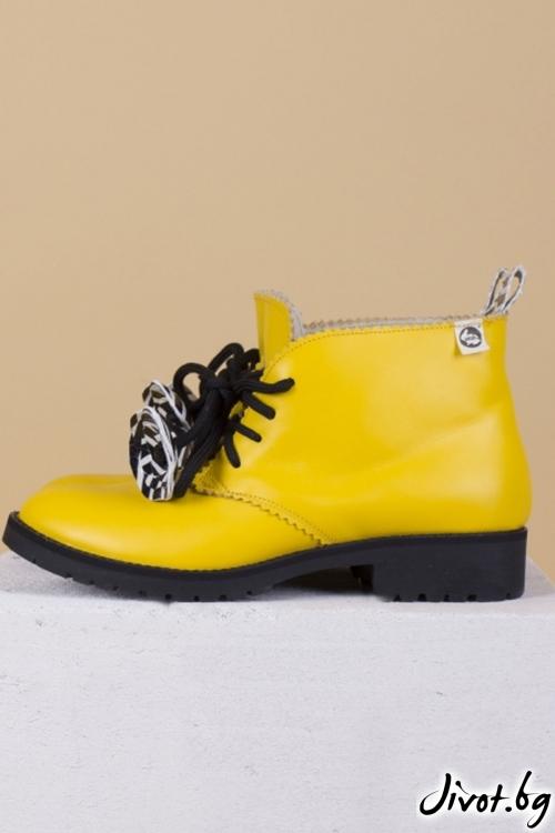 Дамски ръчно декорирани кожени обувки Yellow Clark / PESH ART