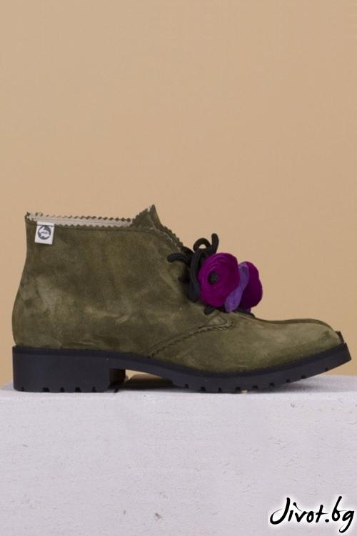 Дамски ръчно декорирани кожени обувки Precious Clark / PESH ART