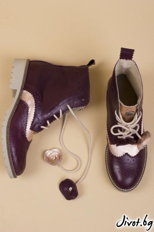 Дамски ръчно декорирани кожени обувки Royal Boots / PESH ART
