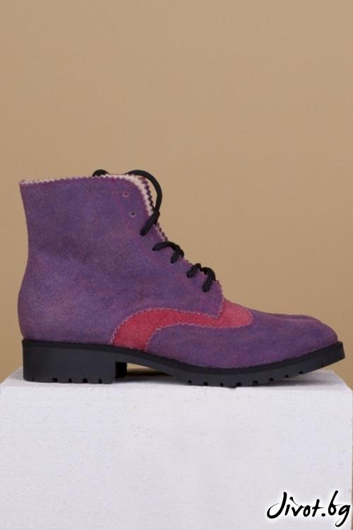 Дамски ръчно декорирани кожени обувки Lavender Boots / PESH ART