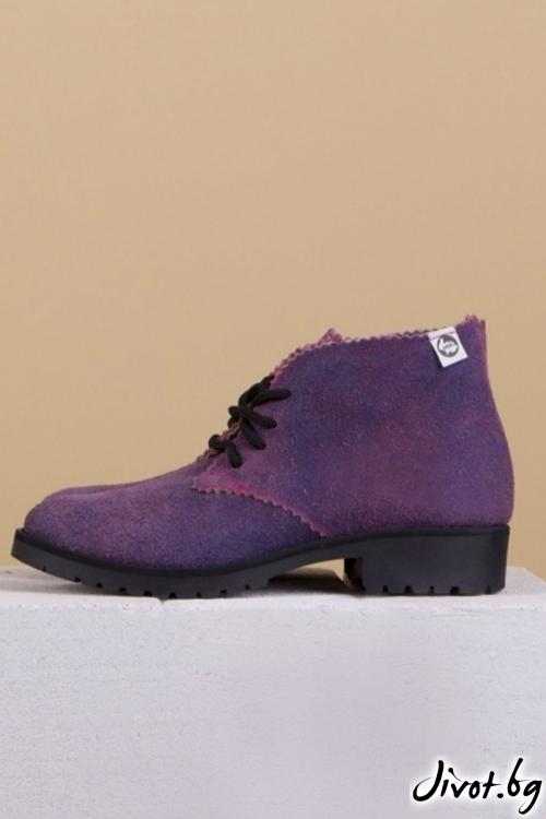 Дамски ръчно декорирани кожени обувки Pink and Inc / PESH ART