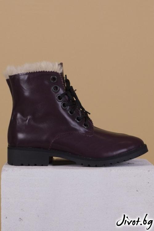 Дамски ръчно декорирани кожени обувки Furry Aubergine / PESH ART