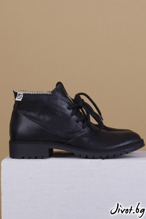 Дамски ръчно декорирани кожени обувки Black Clark / PESH ART