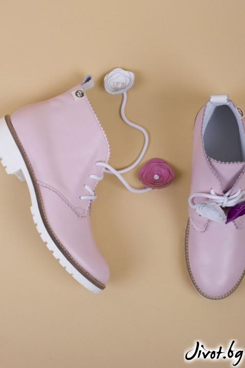 Дамски ръчно декорирани кожени обувки Blush Clark / PESH ART