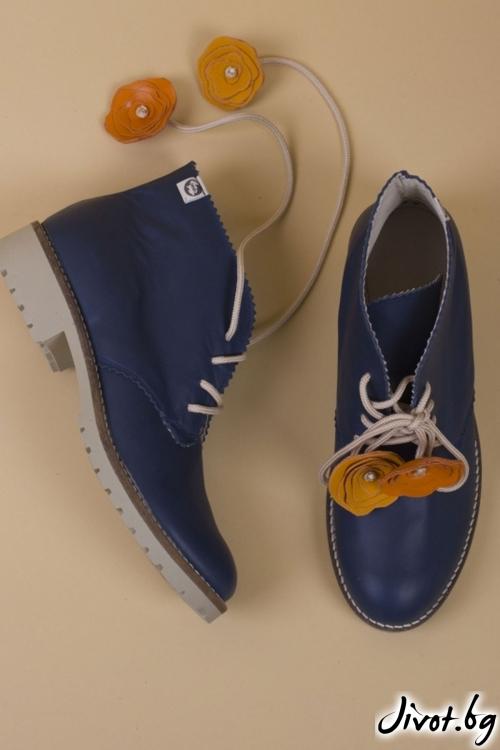 Дамски ръчно декорирани кожени обувки Blue Clark / PESH ART