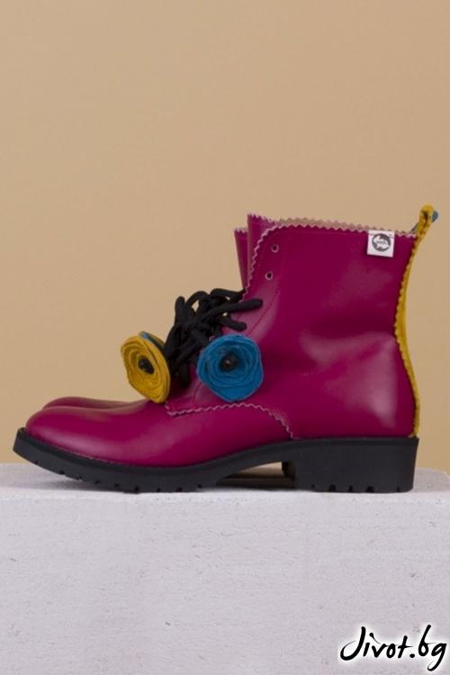 Дамски ръчно декорирани кожени обувки Fuchsia Boots / PESH ART