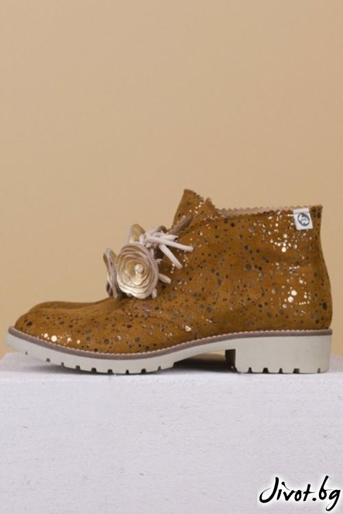 Дамски ръчно декорирани кожени обувки Tampa Drops / PESH ART