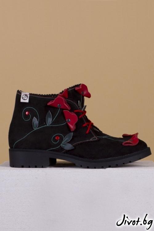 Дамски ръчно декорирани кожени обувки Black Mist nad Poppies C / PESH ART