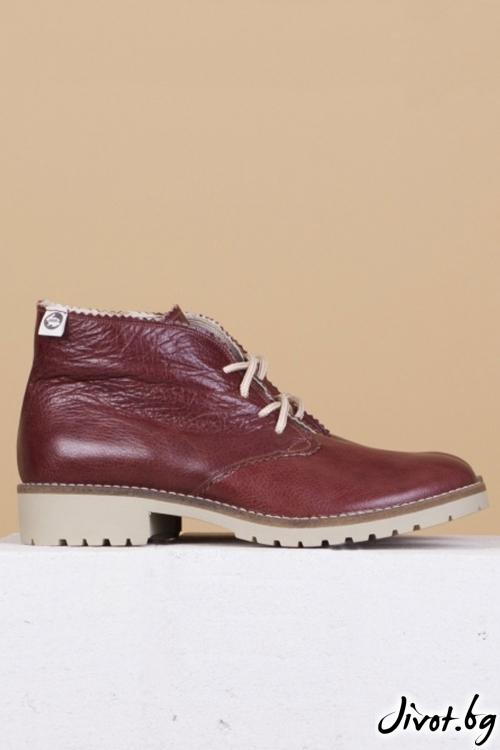 Дамски ръчно декорирани кожени обувки Classic Clark in Brown / PESH ART