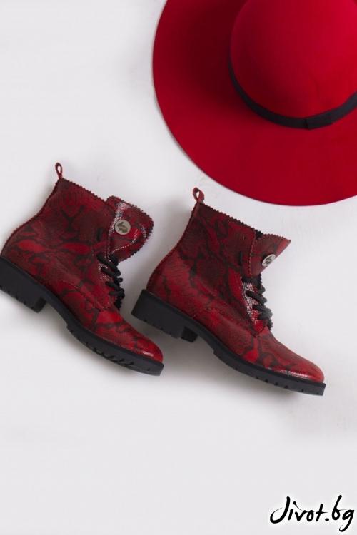 Дамски ръчно декорирани кожени обувки Scarlet Dream / PESH ART
