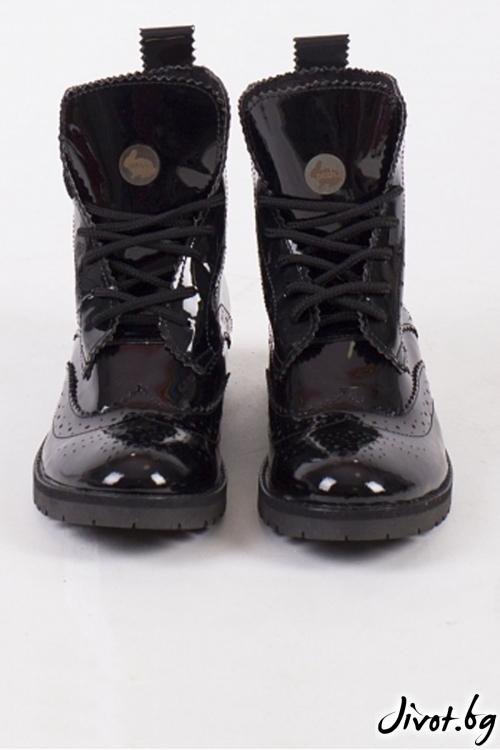 Дамски ръчно декорирани кожени обувки Huntsman Boots - Patent / PESH ART
