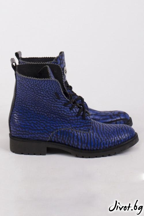 Дамски ръчно декорирани кожени обувки Absolem's Combat Boots / PESH ART