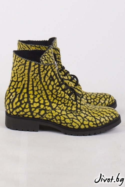 Дамски ръчно декорирани кожени обувки Absolem's Yellow / PESH ART