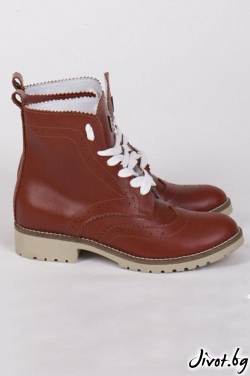 Дамски ръчно декорирани кожени обувки Coca Combat Boots / PESH ART
