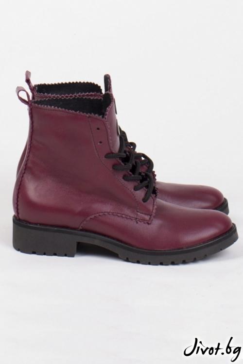 Дамски ръчно декорирани кожени обувки Bordo Combat Boots / PESH ART
