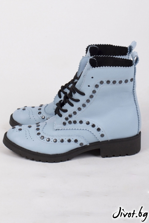 Дамски ръчно декорирани кожени обувки Baby Blue Combat Boots / PESH ART