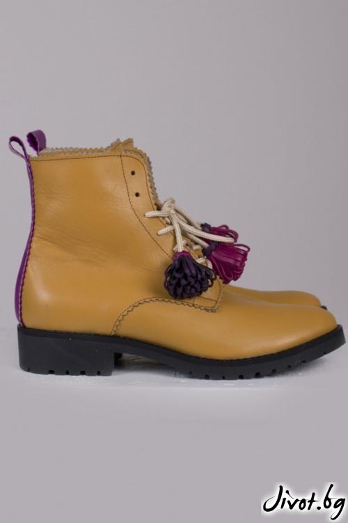 Дамски ръчно декорирани кожени обувки Camel / PESH ART