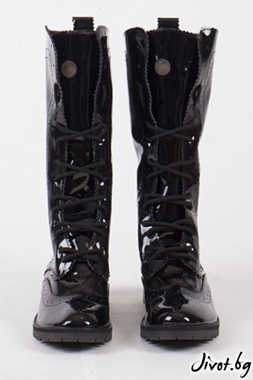 Дамски ръчно декорирани кожени обувки Huntsman High - Patent / PESH ART