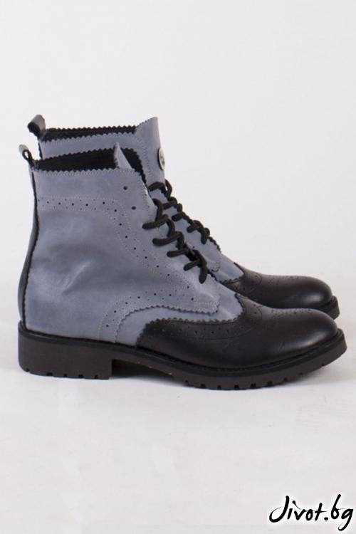 Дамски ръчно декорирани кожени обувки Alice Combat Boots / PESH ART