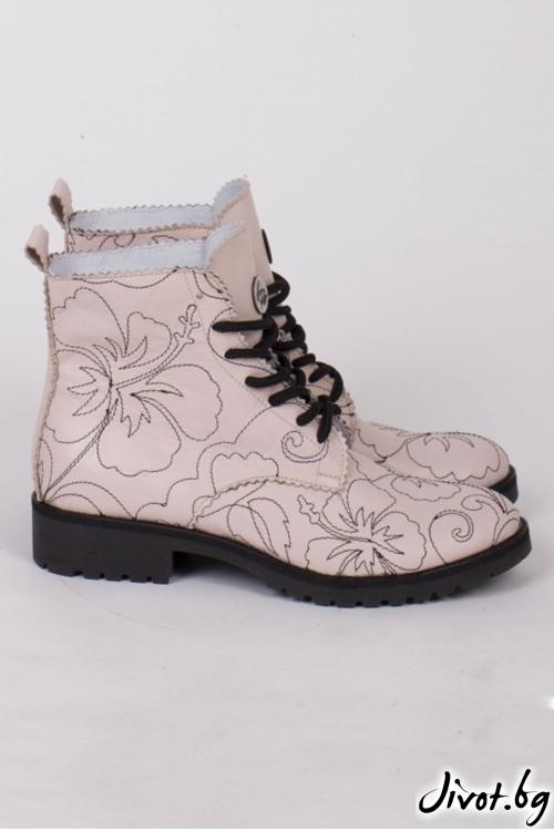 Дамски ръчно декорирани кожени обувки Floral Blush / PESH ART