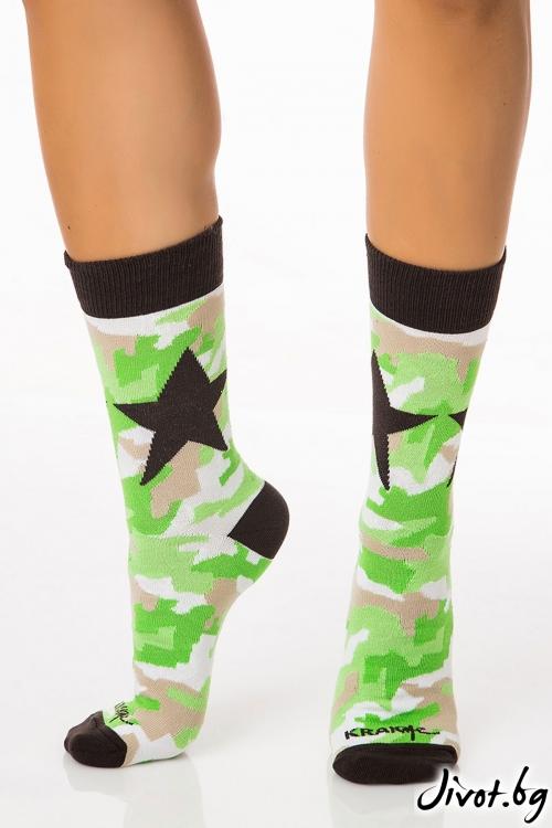 Къси дамски чорапи Military Star Green / Krak me