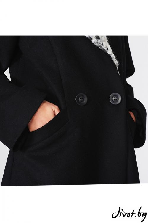 Двуредно черно палто / Lila Style House