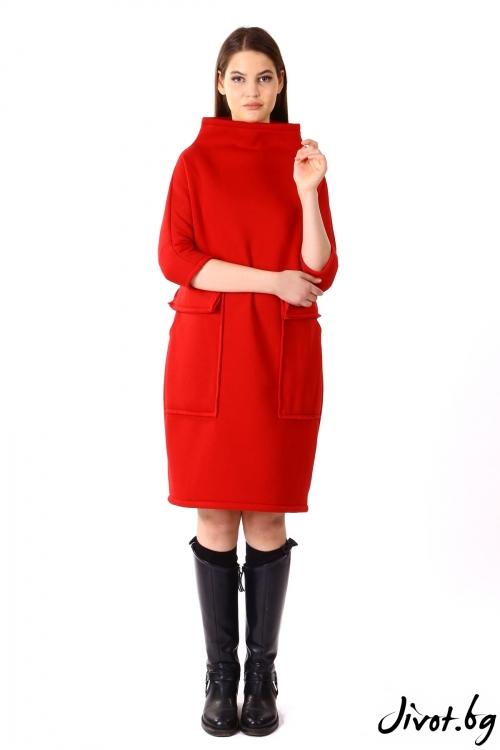 Червена рокля с големи джобове / VЯRA за MUSE SHOP