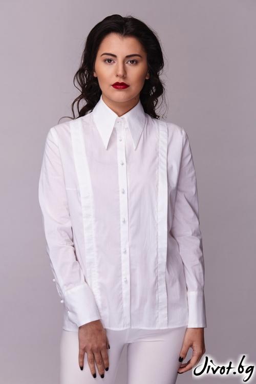 """Бяла дамска риза """"Таня"""" / Модна къща АМБИЦИЯ"""